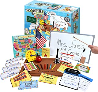 Ben Franklin Toys Play Teacher Role-Play Set Includes Reusable White Board, Bell, Report Cards, for Home or Classroom