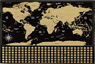 """Amazon Basics Scratch Off Poster of the World Map with Scratcher and Tracking Accessories, 16"""" x 24"""""""