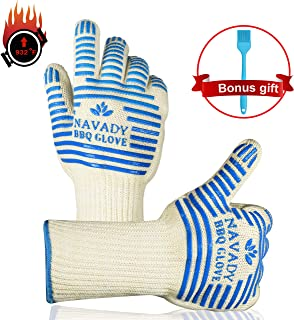Navady BBQ Grilling Gloves Bonus Basting Brush, 932℉ Extreme Heat Resistant Oven Gloves, Silicone Non-Slip Grips Oven Mitts for Cooking, Frying, Cutting, Baking, Welding with Hanging Rope