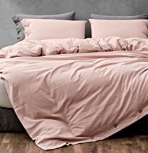 Blush Pink 100% Washed Cotton Duvet Cover King Size, 3 Piece Set Linen Textured Soft Bedding Collection with Buttons Closu...
