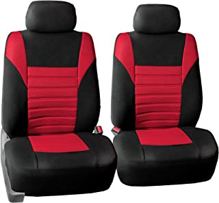FH Group FB068RED102 Half Red Universal Bucket Seat Cover (Premium 3D Air mesh Design Airbag Compatible)