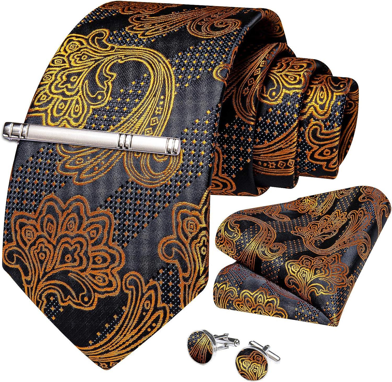 DiBanGu Silk Paisley Floral Tie and Pocket Square Set for Men Woven Necktie Handkerchief Cufflinks Wedding Business