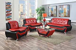 US Pride Furniture 3 Piece Modern Bonded Leather Sofa Set