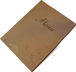 Restaurant menu covers 8.5X11 inch with logo, 5 vinyl pocket inserts, Gift 10 printing paper, 25pcs pack (Coffee gold, 8.5x11 inch)