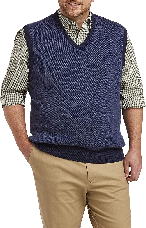 Oak Hill by DXL Big and Tall Multi Birdseye Vest, Blue Multi