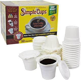 Disposable Cups for Use in Keurig 1.0 Brewers - Simple Cups - 50 Cups, Lids, and Filters - Use Your Own Coffee in K-cups
