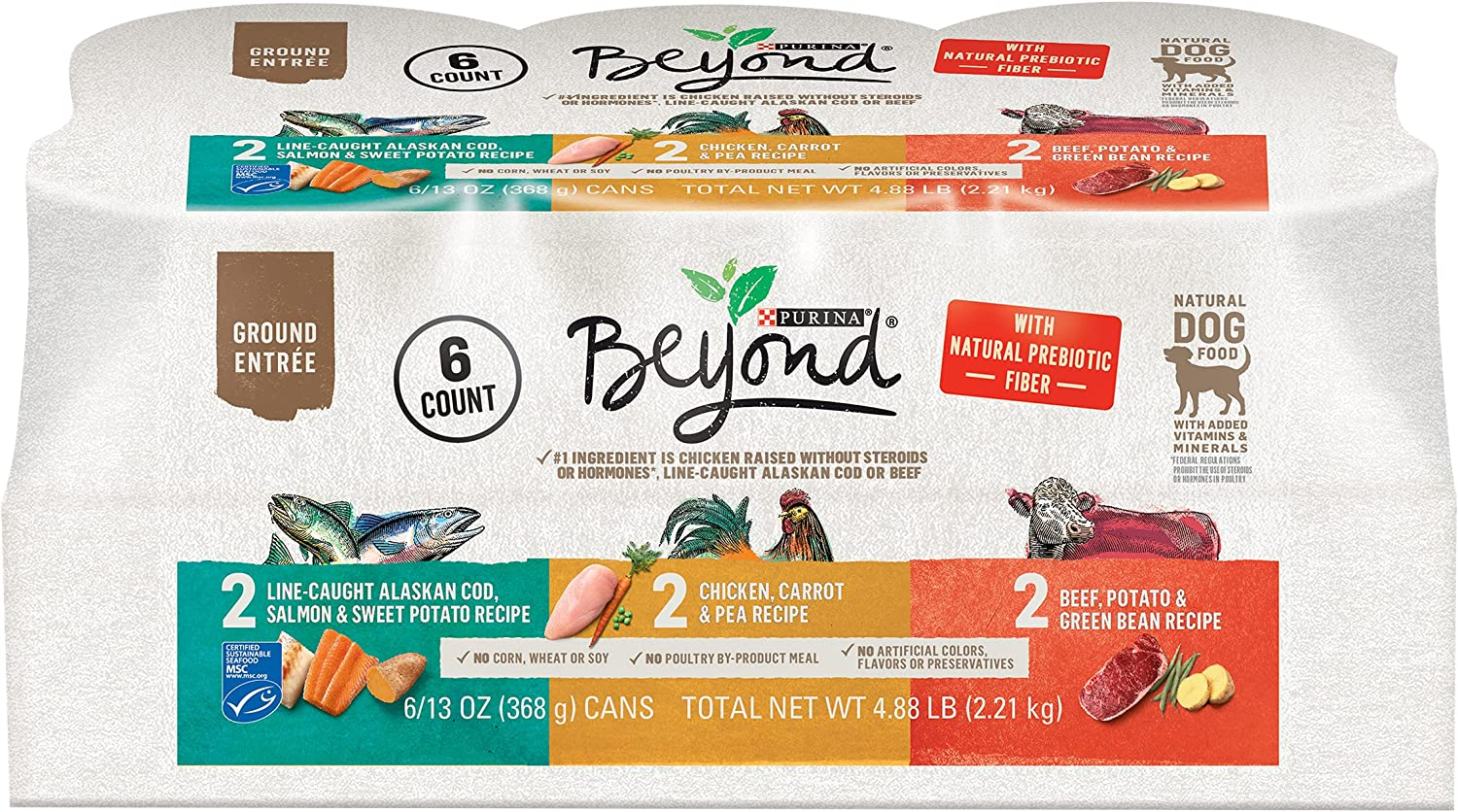 Purina Beyond Grain Free, Natural, Adult Wet Dog Food Variety Pack (Packaging May Vary)