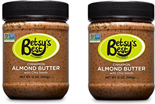 Gourmet Cinnamon Almond Butter w/ Chia Seeds by Betsy's Best - Award Winning - All Natural and GMO Free(Cinnamon, 2 Jars)