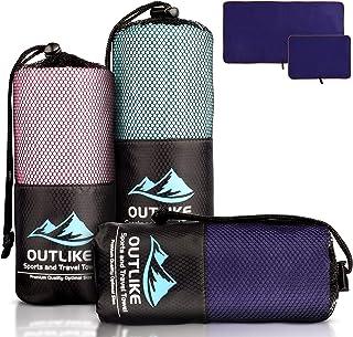 Outlike Mikrofaser Reisehandtuch 2er Set - Leichte Schnell Trocknende Antibakterielle Handtücher für Fitnessstudio und Spo...