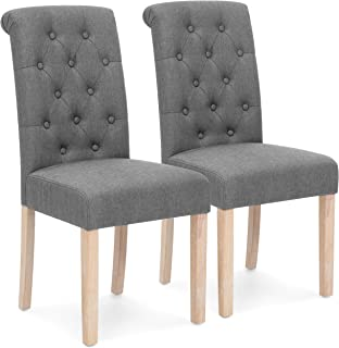 Best Choice Products Set of 2 Tufted High Back Parsons Dining Chairs (Gray)