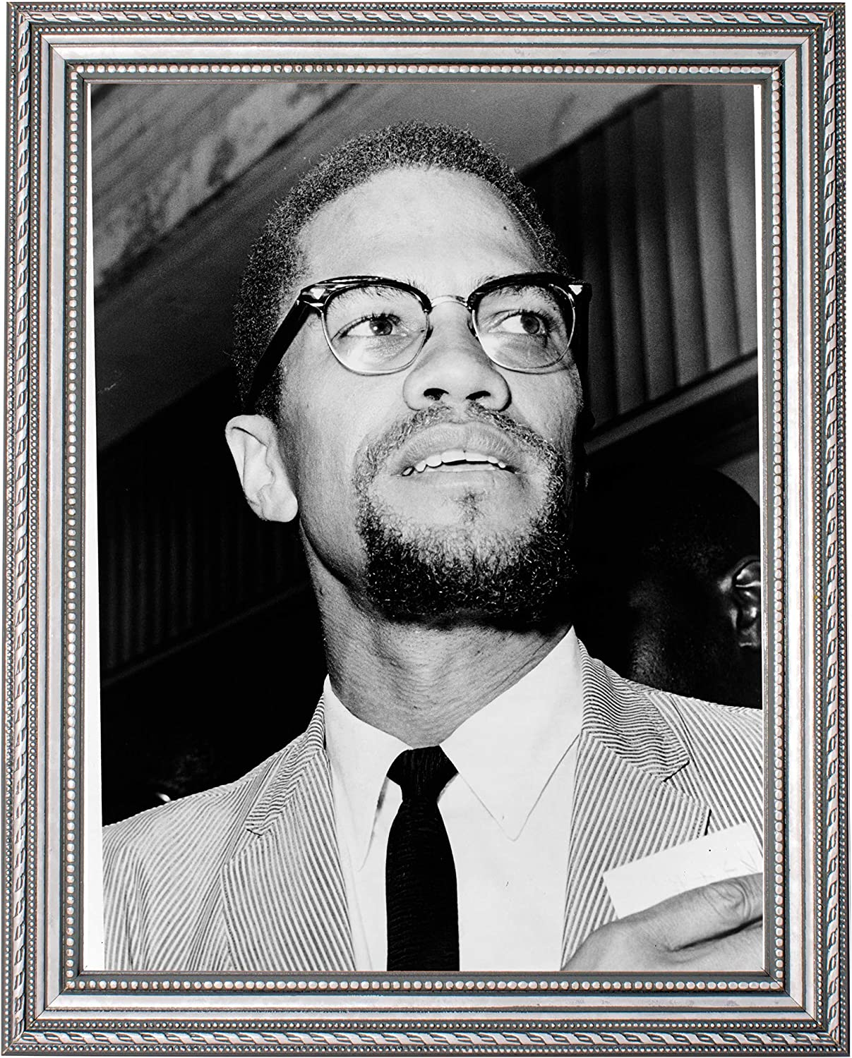 Malcolm X Photograph in a Silver Frame Historical - Artwo New mail order Fresno Mall Ornate