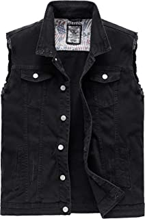 Men's Casual Button-Down Denim Vest Sleeveless Jacket with Broken Holes