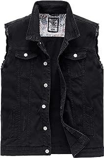Men's Casual Button-Down Denim Vest Sleeveless Jacket with Broken Holes