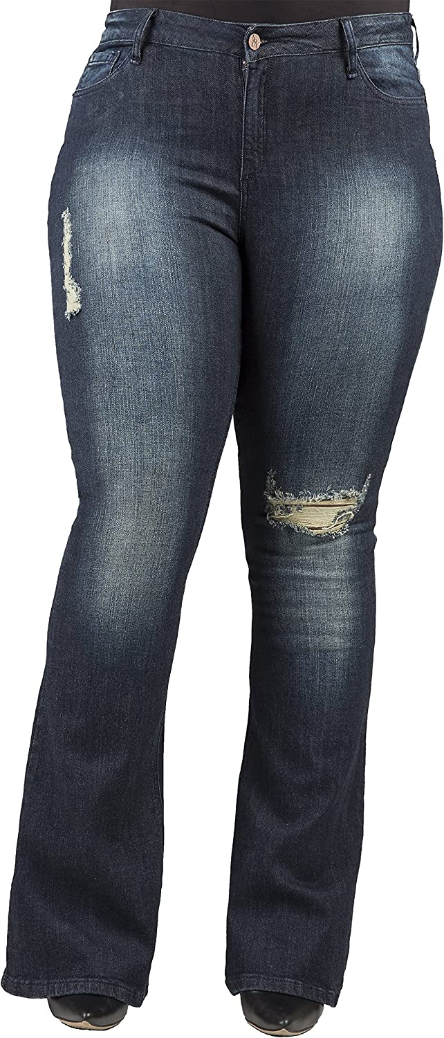 Poetic Justice Plus Size Women's Curvy Fit Stretch Denim Distressed Flare Jeans