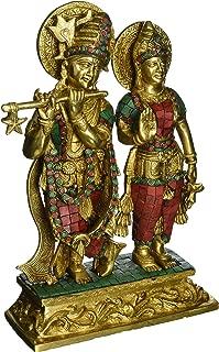 1 Feet Tall Gorgeous Radha Krishna Murti Idol, Colorful Gemstones Handwork Brass Statue - Hindu Gd Goddess of Love - Perfect Wedding Home Decor