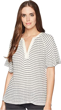 Stripe Drop Needle Cut Out Top