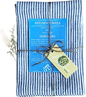 Linen Kitchen Towels | Made in Canada | 30x20 Inches | Pack of 2 | Lint-Free Dish Cloth | Lightweight European Fabric | Fl...