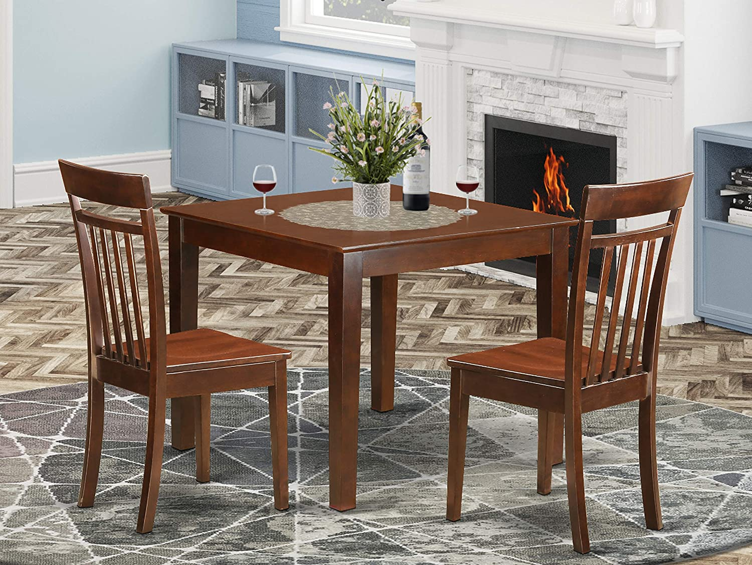 9 PC Dinette Table set with a Dining Table and 9 Dining Chairs in Mahogany