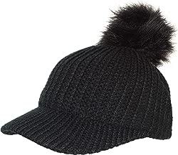 Rising Phoenix Industries Ribbed Knit Baseball Cap Hat w/Removable Faux Fur Pom Pom, Adjustable