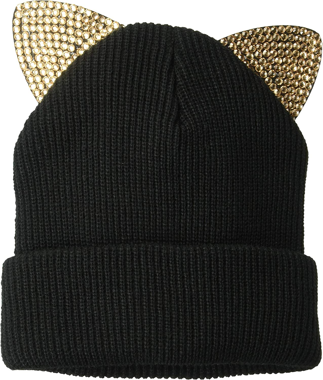 D&Y Women's David & Young's Knitted cat Ear Beanie with Bling, Black, one Size