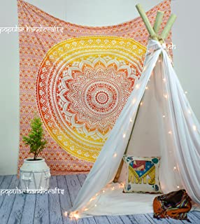 Popular Handicrafts Kp667 Fire Ombre Hippie Mandala Bohemian Psychedelic Tapestry Wall hangings Wall Art Ethnic Dorm Decor Indian Bedspread Magical Thinking Tapestry 84x90 Inches,(215x230cms)