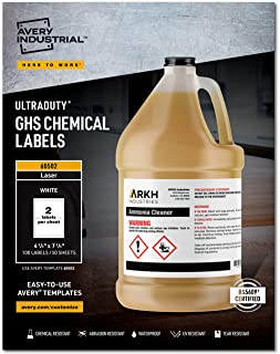 "Avery UltraDuty GHS Chemical Labels for Laser Printers, Waterproof, UV Resistant, 4.75"" x 7.75"", 100 Pk(60502)"