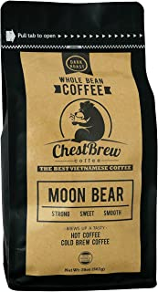 Chestbrew Whole Bean Coffee. Strong Dark Roast Vietnamese Coffee - Moon Bear Premium 20 Ounce