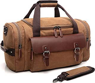 CrossLandy Canvas Gym Bag for Men Women Leather Overnight Bag Travel Carry on Duffel Sports Weekend Tote Bags
