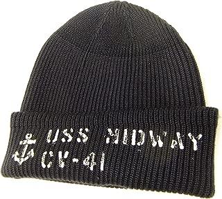 Men's US Navy Watch Cap Stencil Wool Knit Winter Cap BR02258 Navy Blue