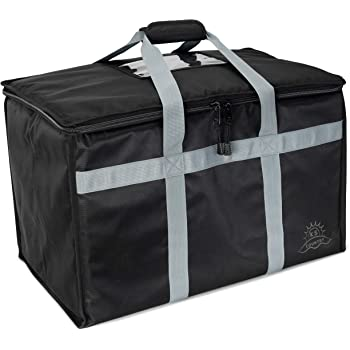 Commercial Insulated Food Delivery Bag by Ks Country - Reusable Grocery Carrier with Thermal Insulation to Keep Meals Hot or Cold - Heavy Duty Zipper - Extra Large and Collapsible Tote Box - Black