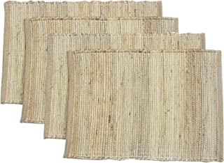 "Chardin Home Eco-Friendly Natural Jute/Hemp Placemats (Set of 4 mats). Size: 13"" X 19""."