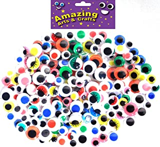 Amazing Arts and Crafts 200 Self Adhesive Wiggle Wiggly Googly Sticky Eyes assorted types 10mm 12mm 15mm
