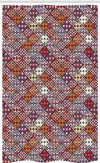ABAKUHAUS Colorful Stall Shower Curtain, Various Skewed Square Nomadic Rug Looking Seamless Pattern, Fabric Bathroom Decor...