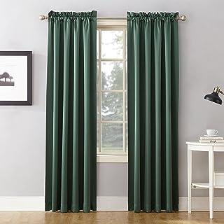 "Sun Zero Barrow Energy Efficient Rod Pocket Curtain Panel, 54"" x 84""-1, Everglade Green"