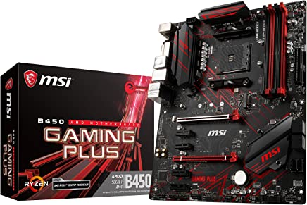 MSI Performance Gaming AMD Ryzen 1st and 2nd Gen AM4 M.2 USB 3 DDR4 DVI HDMI Crossfire ATX Motherboard (B450 Gaming Plus)