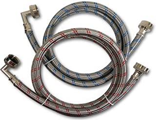 Premium Stainless Steel Washing Machine Hoses with 90 Degree Elbow, 4 Ft Burst Proof (2 Pack) Red and Blue Striped Water Connection Inlet Supply Lines - Lead Free