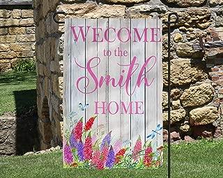 Name Welcome Home Floral Garden Flag Personalized Garden Flag Wedding Gift Summer Garden Garden Art Name Sign