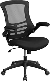 Flash Furniture Mid-Back Black Mesh Swivel Ergonomic Task Office Chair with Flip-Up Arms - BL-X-5M-BK-GG