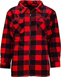 TrailCrest Men's Heavy Fleece Sherpa Lined Shirt Jacket, Warm Full Zip Outdoorsman Buffalo Plaid