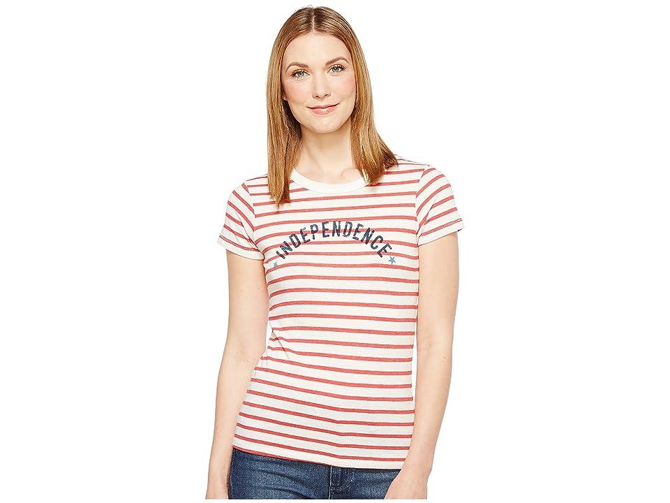 Alternative Eco Jersey Yarn-Dye Stripe Ideal Tee (Red Riviera Stripe Independence) Women