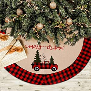 Alynsehom Christmas Tree Skirt Red Truck Christmas Tree Skirts Large 48 Inches Xmas Tree Mat Merry Christmas Decor Tree Red Black Buffalo Plaid Home Holiday Party Christmas Decorations