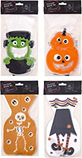 Clever Home Halloween Goodie Treat Bags with Twist Ties - 60 Cellophane Bags - Skeleton, Pumpkin, Frankenstein and Witch Legs