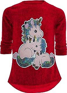 Sudadera con diseño de unicornio y caballo, reversible, con lentejuelas brillantes, blusa larga