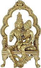 Lord Vishnu with Goddess Lakshmi on a Kirtimukha Throne (Hoysala Art) - Bronze Statue