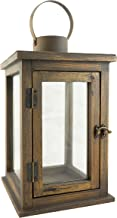 Stonebriar 12.5 Inch Rustic Wooden Candle Hurricane Lantern, For Table Top, Mantle, or Wall Hanging Display, Indoor & Outdoor Use, Large