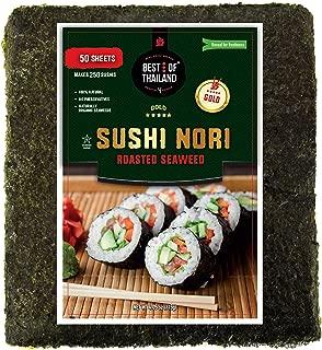Organic Sushi Nori Seaweed Sheets   Premium Roasted Seaweed   50 Sheets for Sushi Making   100% Natural Preservative-free Kosher Certified   Dried Sushi-Grade Korean   By Best of Thailand