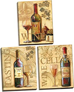 Poster Discount Tuscan Red, White and Rose Bottles and Glasses of Wine; Kitchen Décor; Three 11x14in Stretched Canvases