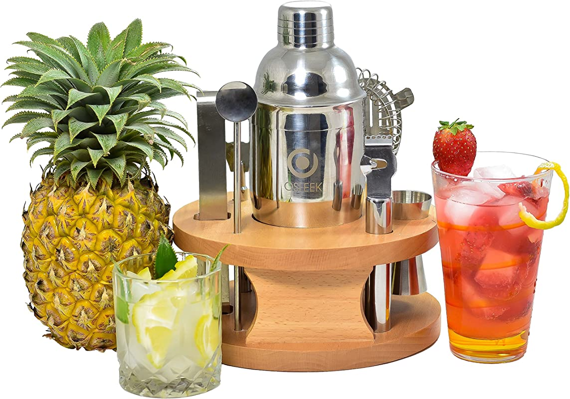 Cocktail Shaker 8 Piece Set Complete Bartender Tool Kit 24oz Stainless Steel Martini Mixer Strainer Jigger Spoon Twister Zester Grater Tong Bottle Opener Wood Display Stand Recipe Book
