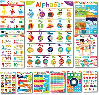 Sproutbrite Educational Posters and Classroom Decorations for Preschool - 11 Early Learning Charts for Pre-K, Kindergarten...