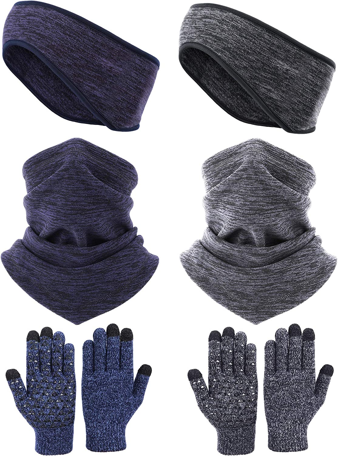 Syhood 6 Pieces Neck Warmer Gaiters with Drawstring Fleece Headbands Earmuffs Touchscreen Gloves for Adult Winter
